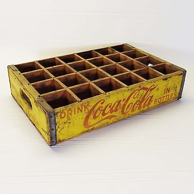 Vintage Wooden Coca-Cola Crate Yellow 24 Dividers 1960's San Mateo, CA