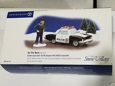 "Dept 56 Snow Village ""on The Beat"" Police Car - Set Of 2"
