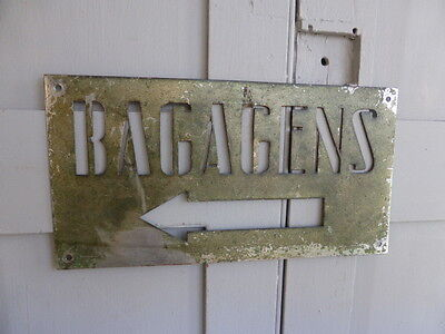 """Antique French Art Deco metal hotel sign """"Bagagens"""" or Luggage"""