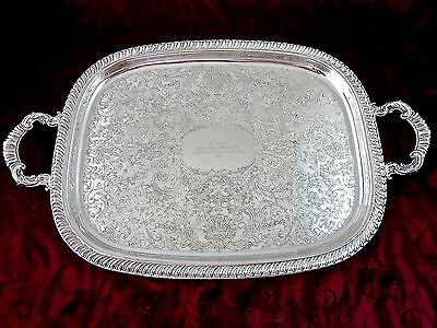 Vintage 1975 Gorgeous Silverplate WAITERS TRAY Gadroon Rim 22 1/2""