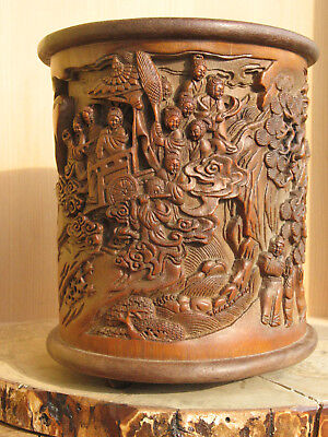 "A1045 Vintage Chinese Carved Bamboo Brush Pot or Pen Holder 6-1/2""H"