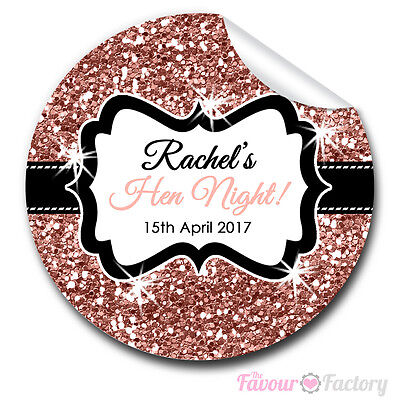 GLOSSY Personalised glitter ROSE GOLD HEN NIGHT PARTY bags labels STICKERS