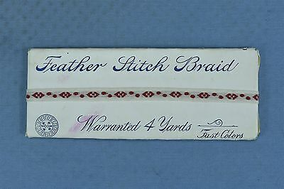 Antique 1911 EDWARDIAN RED FEATHER STITCH BRAID UNUSED in PACKAGE 4 YDS #03905