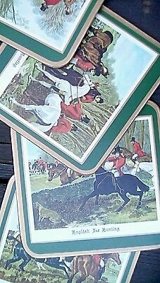 English fox hunting Coasters w/ green boarders and cork backing
