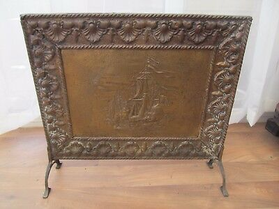Vintage Fire Screen Brass Plate Embossed Galleon Ship & Shell Pattern  H  49cm