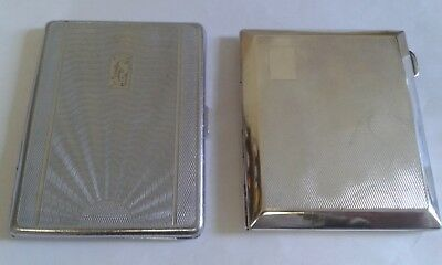 Pair of Vintage Silver Chrome Cigarette Cases with Engine-Turned Design.