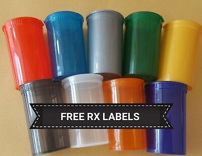 50x 13dram SQUEEZE pop top SMELLPROOF  medical cannabis weed tubs FREE LABELS