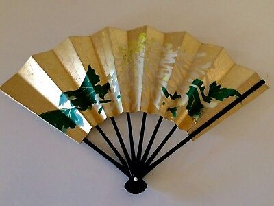 Vintage Asian Japanese Hand Painted, Stiff Paper Folding Fan, Floral, With Box
