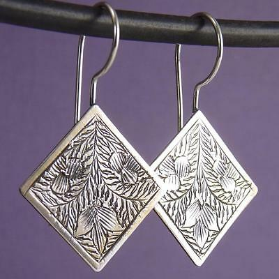 DIAMOND Traditional Carved SilverSari Hooks Earrings Solid 925 Sterling Silver
