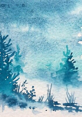 Original Art Small ACEO painting watercolour Turquoise Pines by Pamela West