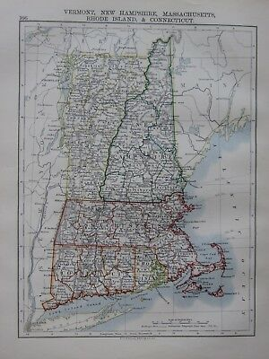 1897 Victorian Map ~ United States Vermont New Hampshire Massachusetts Rhode Is