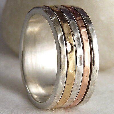 Narrow SilverSari 3-Tone 3-SPIN SPINNER Size US 9.75 Ring Solid 925 Stg Silver