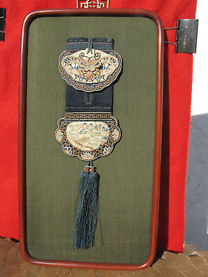 A1143 Framed Antique Chinese Silk Embroidered Belt Purse w Butterfly n Cricket