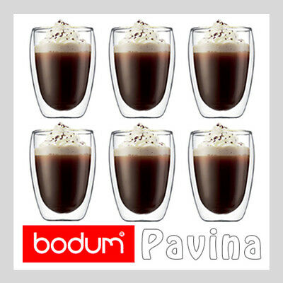 BODUM PAVINA Double Wall Insulated Thermo Glass Coffee Latte Tea Cups 6 x 350ml