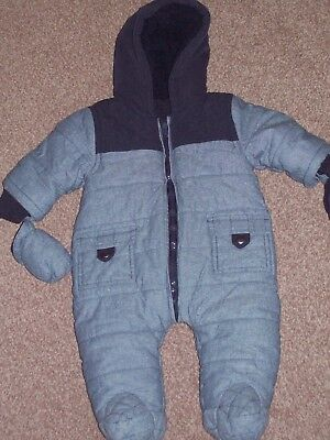 BABY BOYS ALL IN ONE SNOW SUIT IN GREY & NAVY SIZE 0-3mths BY MATALAN NEW