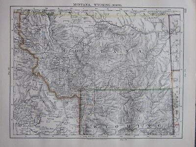 1897 Victorian Map ~ United States Montana Wyoming North Section