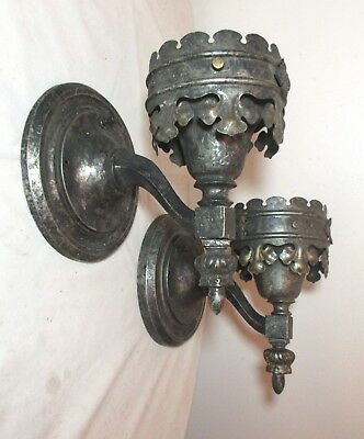 pair of antique ornate patinated silver tone gothic electric wall sconce fixture