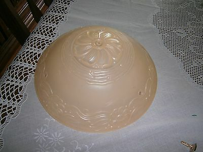 VINTAGE 30s 40s Ceiling Light Lamp Fixture Glass Shade globe Chandelier Beige