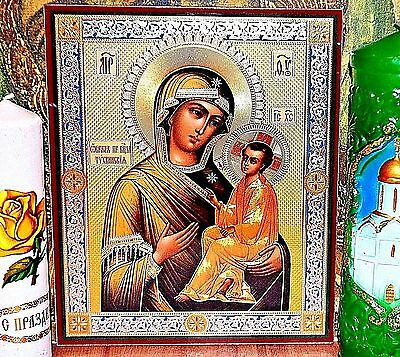 Mother of God Tikhvinskaya  Russian Orthodox Icon Silver Gold embossed