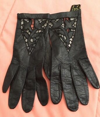 Vintage Black Leather & Lace Gloves By Superb Made In Italy Size 6 1/2