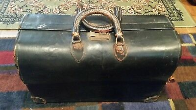 Antique Vintage Leather Locking DOCTOR'S BAG
