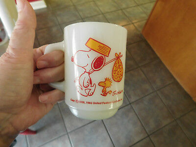 Vintage 1965 Snoopy & Woodstock Come Home Coffee - Mug - Anchor Hocking