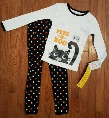 Carters Infant Toddler Girl 2 PC Peek-A-Boo Cat Halloween Sleep Set Pajamas 4T