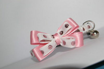 Glitter Spots Rose Pink Adjustable Bow Quick Release Cat Collar