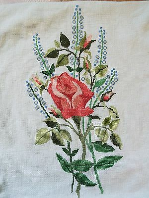 Old/vintage hand embroidered cushion cover with colourful rose flower spray