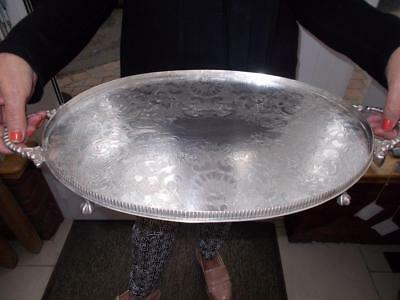Vintage Sheffield Made Silver Plate Tray Looped Handles Elegant Ball & Claw Feet