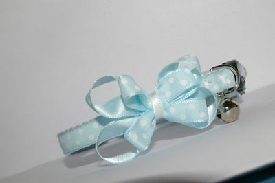 Duck Egg Blue With White Spots Adjustable Bow Quick Release Cat Collar
