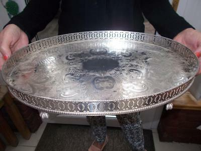 Large Vintage Silver Plated Tray Ball & Claw Feet Ornate Gallery Nice Condition