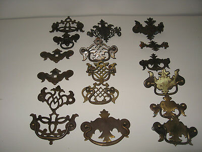 Lot of 17 Vintage Brass Metal Drawer Pulls Handles Chippendale Bat Wing Style