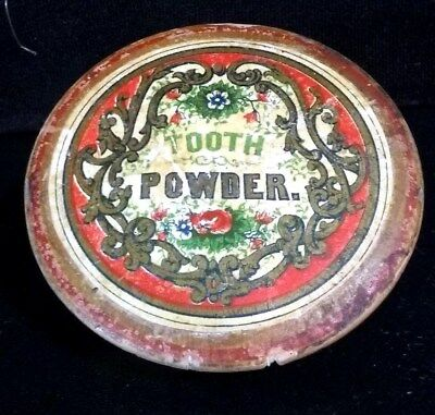 Antique Dental Wood Tooth Powder Jar / Container Colorful & Unusual Health Drug