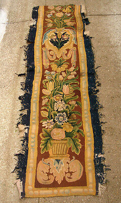 A Superb Wool & Silk Antique Tapestry Border With Flowers