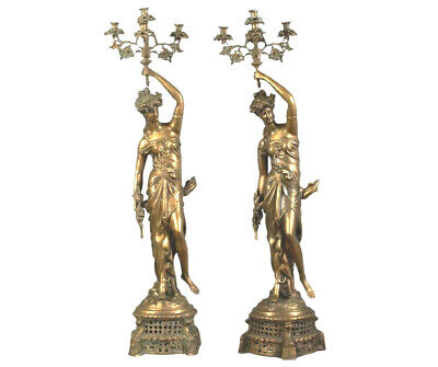 Pair of Large Bronze Five Light Figural Candelabra,
