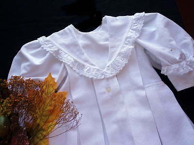 Edwardian Toddler White Linen Coat Dress With Lace - For The Collector 1910-1920
