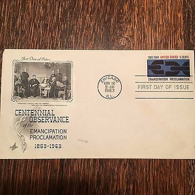 """August 16th, 1963 Centennial """"Emancipation Proclamation"""" First Day Cover"""