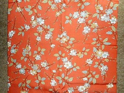 "Vintage Japanese Silk Kimono Fabric Floral Branches 14""x 46""  LAST"