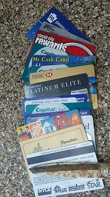 Collectors Lot 15 Expired Obsolete Credit Cards Visa Charge Cards & Bank Cards