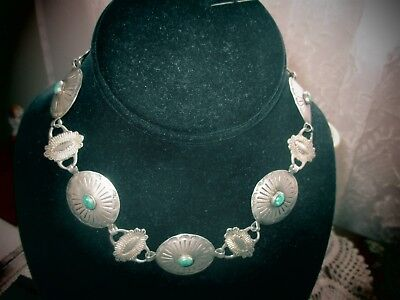 Vintage Navajo Concho Necklace With Green Turquoise Stones~Fits Close To Neck
