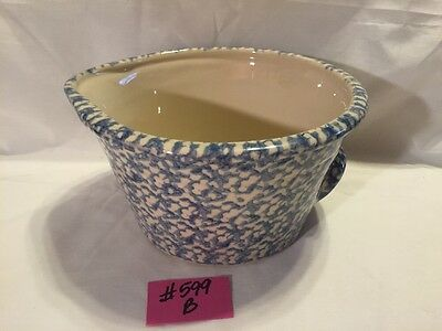 New Gerald Henn Workshop Roseville Pottery Large BlueSponged,Spouted Mixing Bowl