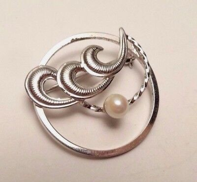 Vintage Signed Dce Round Swirl Pearl Elegant Sterling Silver 925 Brooch Pin