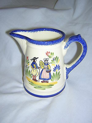 "Vintage Faience d'Art Regional by Breton Hand Painted 4 1/4"" Tall Creamer ~ Mint"