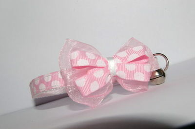 Baby Pink Large Dots Adjustable Bow Quick Release Cat Collar