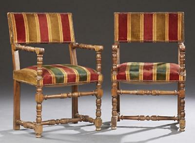 Pair of French Louis XIII Style Carved Beech Fauteuils, 19th century ( 1800s )