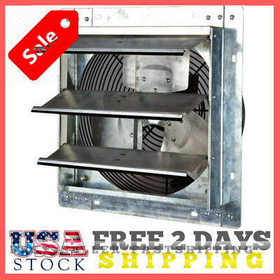 """Shutter Wall Mounted Fan Exhaust 12"""" Automatic Garage Cool Air Blades Variable."""