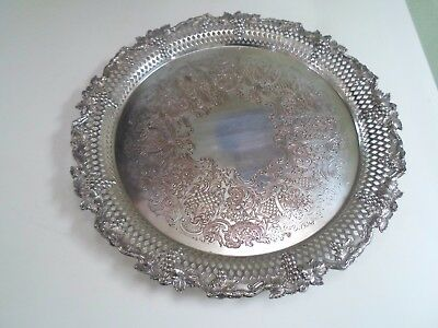 "Fab Vintage 12"" Silver Plate on Copper Chased Serving Tray Grape Detail To Edge"