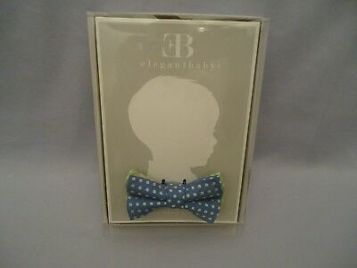 NIB ELEGANT BABY 1st BOWTIE  PreTied Bow Tie Blue Polka Dot Adjustable Neck