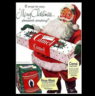 Santa Claus Smoking Camel Cigarettes PHOTO Print Christmas Prince Albert Tobacco